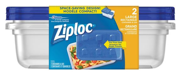 ZIPLOC, CONTENANTS RECTANGLES LARGES, 2 UNITÉS