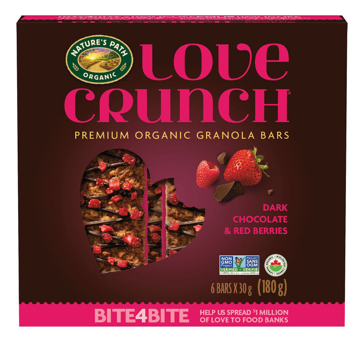 LOVE CRUNCH, BARRES DE GRANOLA CHOCOLAT NOIR & BAIES ROUGES BIO, 180 G