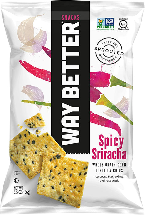 WAY BETTER SNACKS, CROUSTILLES DE TORTILLAS AU MAÏS AU SRIRACHA, 156 G