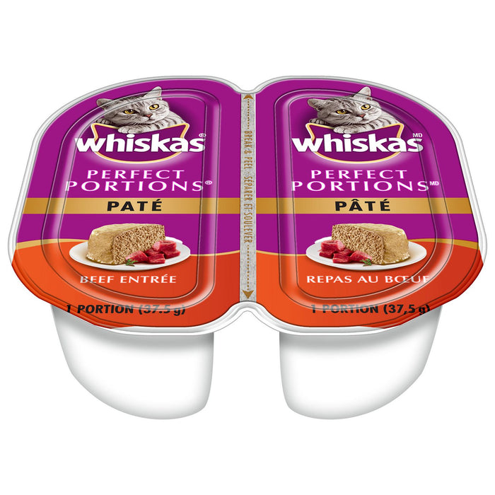 WHISKAS, PERFECT PORTIONS PÂTÉ REPAS AU BOEUF, 2 X 37.5 G