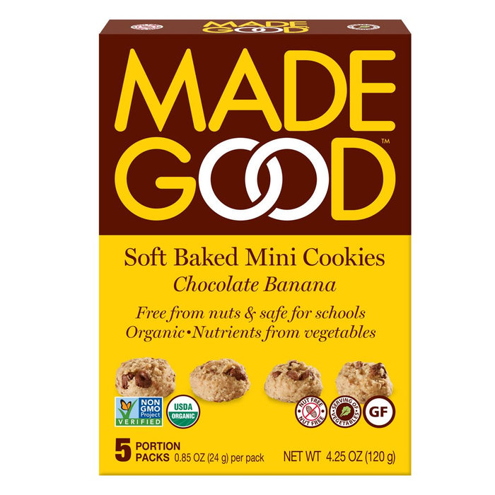 MADE GOOD, MINI BISCUITS MOELLEUX CHOCOLAT BANANE, 5X24 G