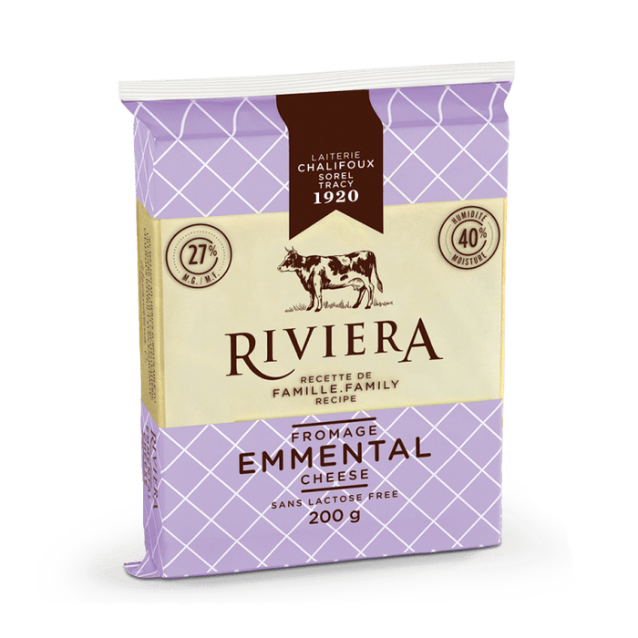 RIVIERA, FROMAGE EMMENTAL SANS LACTOSE, 200 G
