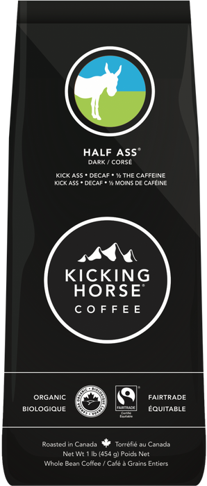 KICKING HORSE COFFEE, HALF ASS CAFÉ EN GRAINS CORSÉ, 454 G