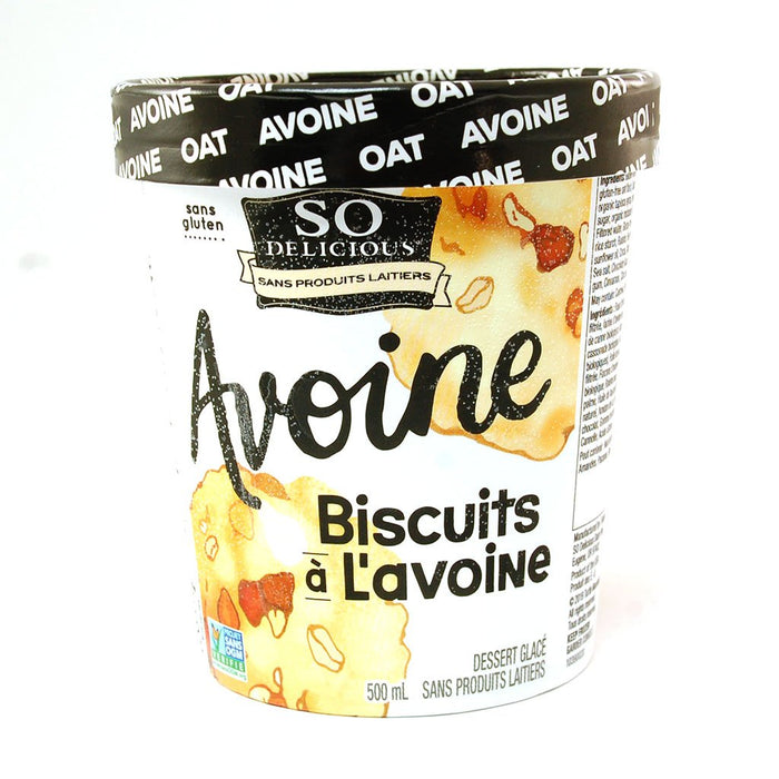 SO DELICIOUS, DESSSERT GLACÉ AU LAIT D'AVOINE À SAVEUR DE BISCUITS À L'AVOINE, 500 ML