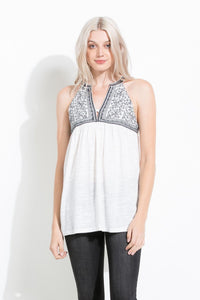 Embroidered Halter Knit Top