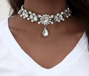 Studded Vintage Boho Crystal Beads Necklace