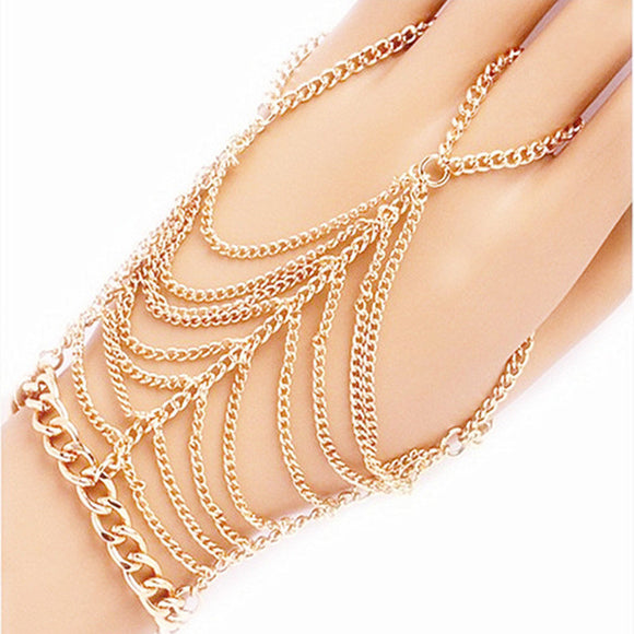 Simple Hindi Style Finger Chain Bracelet - Fashiozz