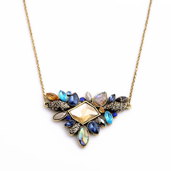 Exquisite Rhinestone Pendant Thin Chain Necklace - Fashiozz