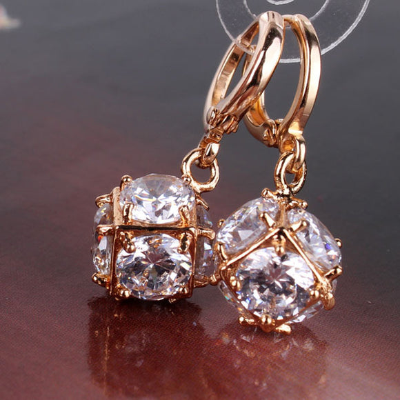 Lovely White Gold Drop Dangle Earrings - Fashiozz