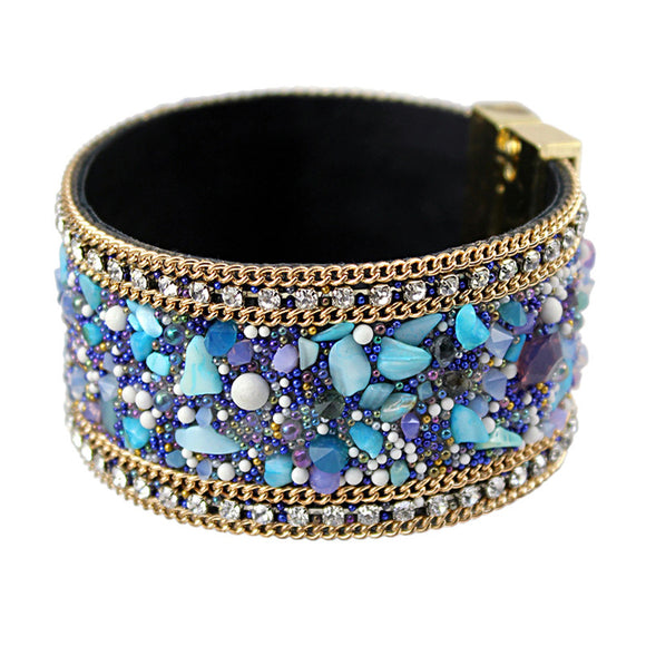 Shades of Stones Leather Bangle - Fashiozz