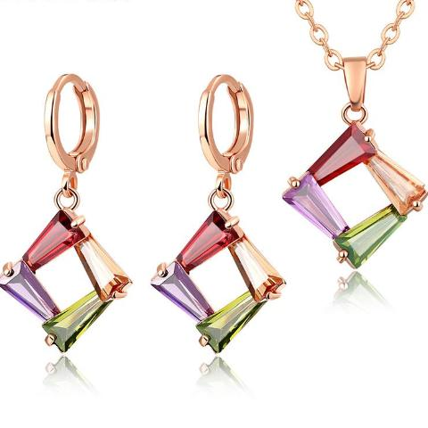 Colorful Rose Gold Zircon Jewelry set - Fashiozz