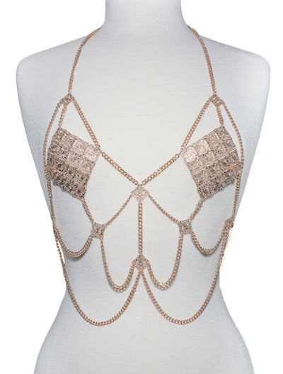 Dripping Body Chain Top - Rose Gold