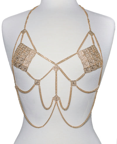Dripping Body Chain Top - Gold