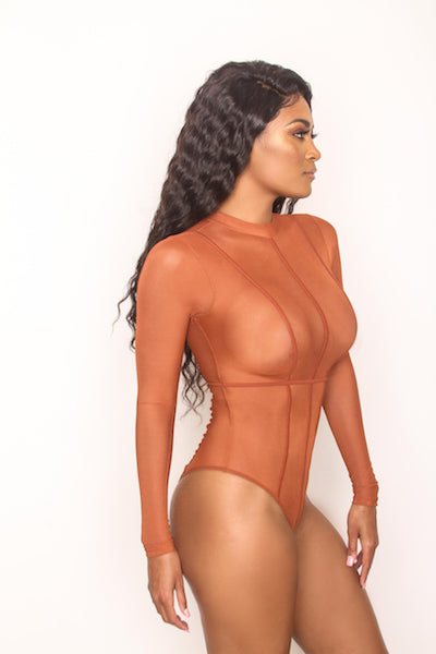 She So Sheer Bodysuit - Copper