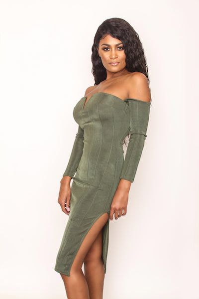 Pin Me Up Dress - Olive