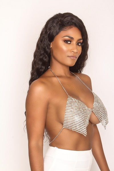 Sparkle Body Chain Top - Silver
