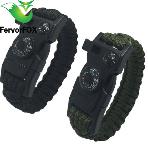 New  Survival Bracelet Flint Fire Starter Gear Escape Paracord Whistle Cord Buckle Camping Bracelets Rescue Rope Travel Kits