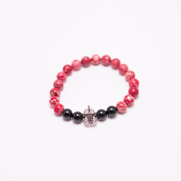 shiny black onyx bead stone bracelet, red jasper bead stone bracelet, sterling silver black and silver gladiator head, men's stone bead bracelet and women's stone bead bracelet