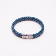 Men's leather braided bracelet, blue leather bracelet, stainless steel clamp leather bracelet, greek braided bracelet
