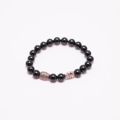 shiny black onyx bead stone bracelet, sterling silver skull head, men's stone bead bracelet and women's stone bead bracelet