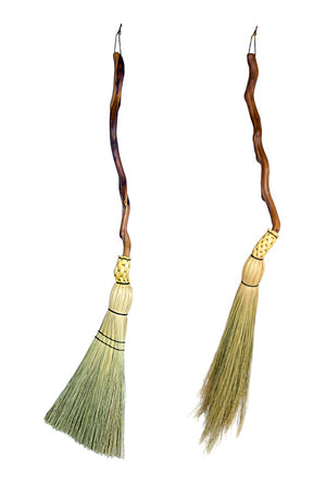 Manzanita handle floor brooms - traditional round and shaker flat