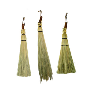 Granville Island Broom Co manzanita handle whisk brooms - traditional round and shaker flat
