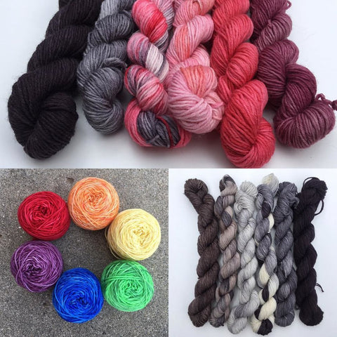 Pigpen packs of Pigtail mini-skeins. Each Pigpen contains six 25g Pigtails of Oink Sock. Perfect for Helena's latest pattern, Agnesi. Quantities are limited, snag your favorite color combo before it's gone!