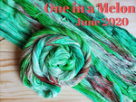 "several skeins of yarn laid out with 1 twisted into a spiral all skeins are bright green with a splash of deeper bright green and coral with black speckles, text in coral reads ""One in a Melon June 2020"""