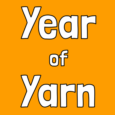 "White blocky text reads "" Year of Yarn"" on a cheerful yellow background."