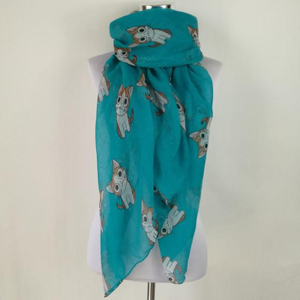 Apparel - Cartoon Cat Print Scarf