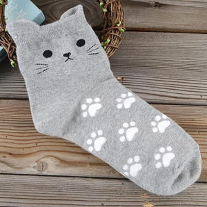 Apparel - Cat Face And Paw Print Socks