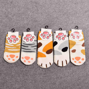 Apparel - Cotton Cat Socks With Toe Beans - 5 Pack