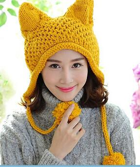 Apparel - Winter Cat Hat With Poms