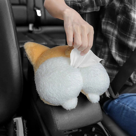 Corgi Butt Car Tissue Holder