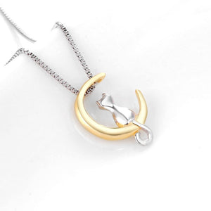 Jewelry - Cat In The Moon Vintage Pendant Necklace