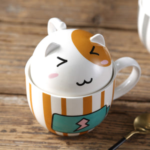 Kawaii Cat Mug with Lid