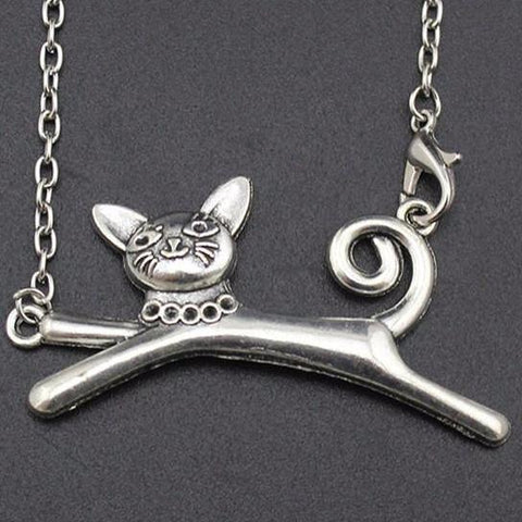 Leaping Cat Pendant Necklace