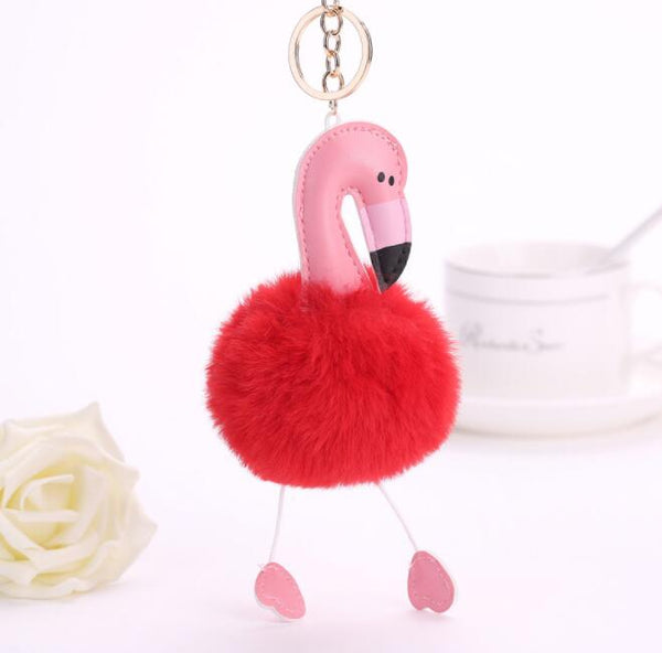 Flamingo Pom Key Chain