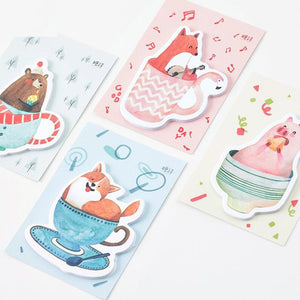 Stationery - 4 Pack Of Sticky Notes - Bear, Fox, Pig, And Dog