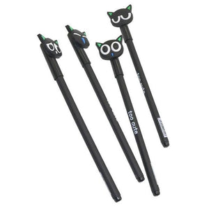 Stationery - Black Cat Gel Pen - 4 Count