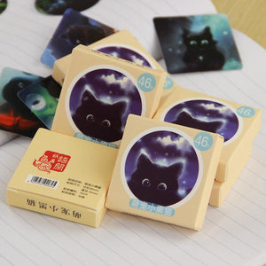 Stationery - Black Sky Cat Stickers - 92 Count