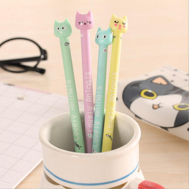 Stationery - Cartoon Cat Plastic Gel Pens - Candy Color - 4 Count