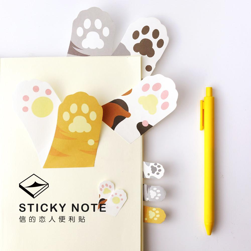 Stationery - Cat Paw Sticky Note Pads - 6 Count