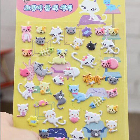 Stationery - Korean 3D Cat Stickers