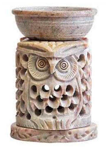 Soapstone Owl Incense Burner 3PC