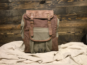 Sorting Symbol Leather & Canvas Backpack