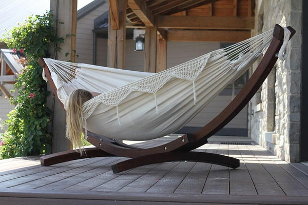 Vivere Cotton Double Hammock with Wooden Stand | Hammock Set  - Cool Hammocks
