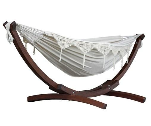 Vivere Cotton Double Hammock with Wooden Stand | Hammock Set Natural - Cool Hammocks