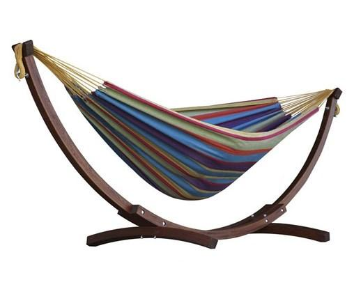 Vivere Cotton Double Hammock with Wooden Stand | Hammock Set Tropical - Cool Hammocks