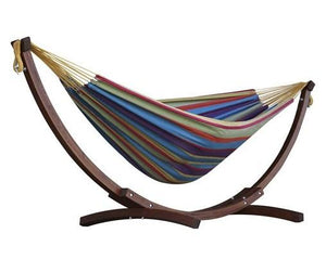 Vivere Cotton Double Hammock with Wooden Stand Tropical - Cool Hammocks